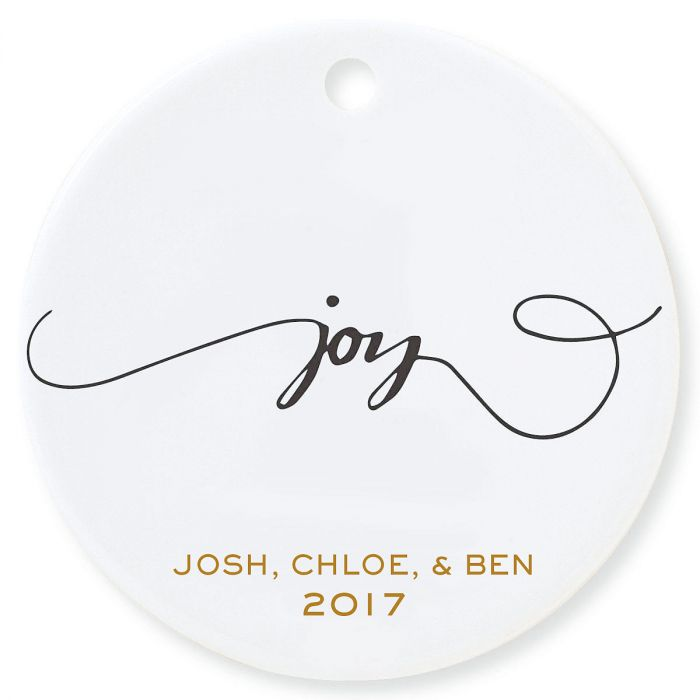 Joy Round Christmas Personalized Ornaments