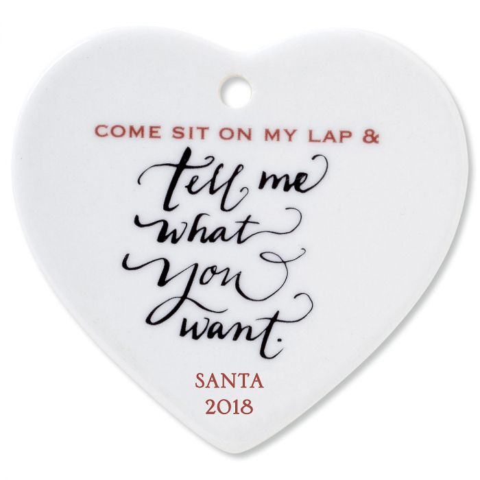 Come Sit on My Lap Heart Christmas Personalized Ornaments