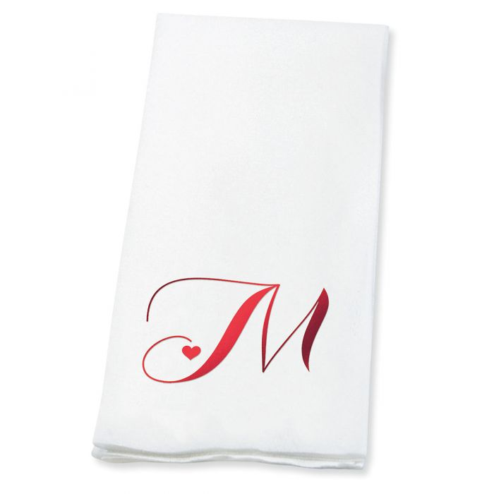 Heart Initial Foil-Stamped Disposable Hand Towels