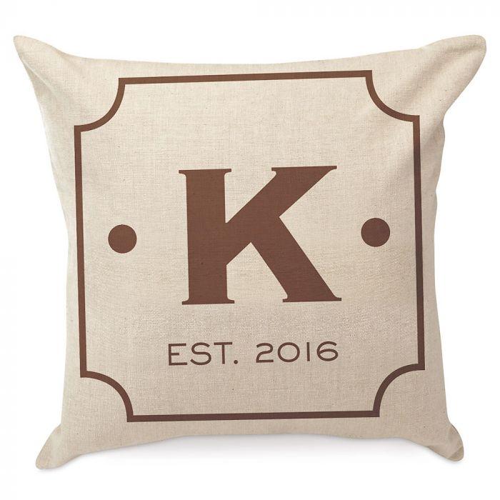 Initial Square Personalized Pillow by Designer Jillian Yee-Pham