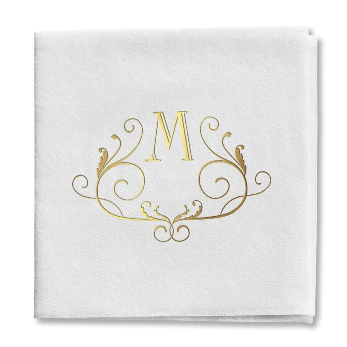 Scroll Initial Cocktail Napkins