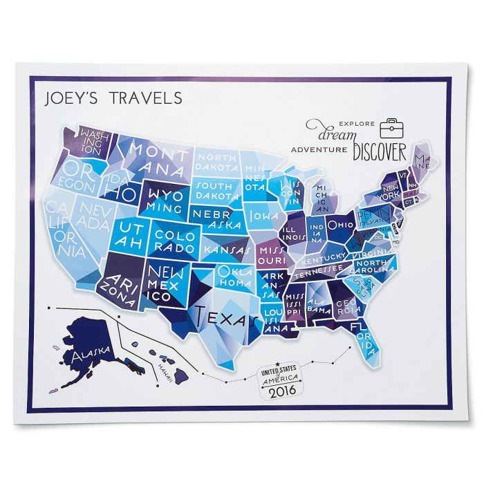 Blue Travel Map