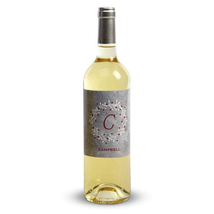 Initial in Wreath Wine Label