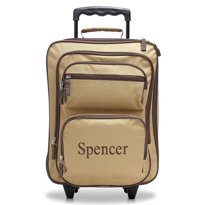 Beige and Brown Rolling Luggage