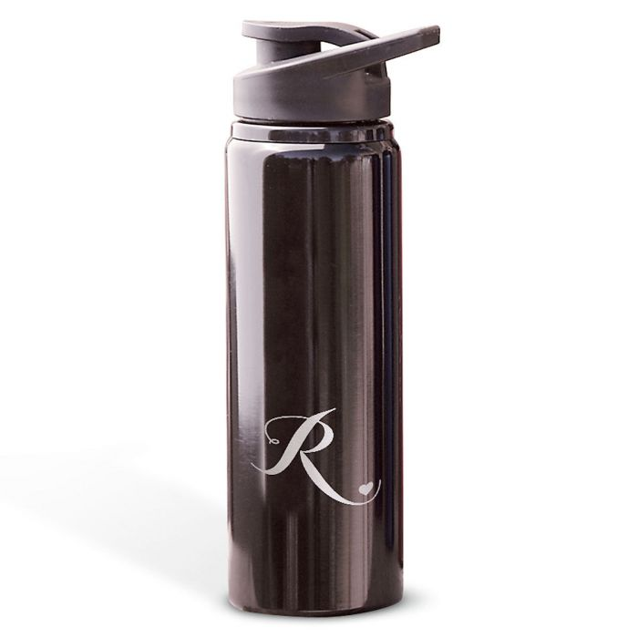 Aluminum Water Bottles with Heart-Black-816395A