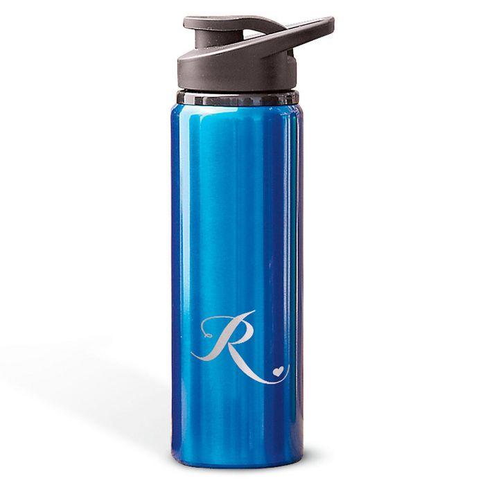 Aluminum Water Bottles with Heart-Blue-816395B