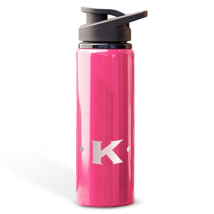 Aluminum Water Bottles with Initial-Pink-816396D