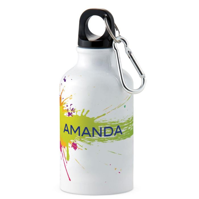 Green/Pink Splatter Personalized Water Bottle