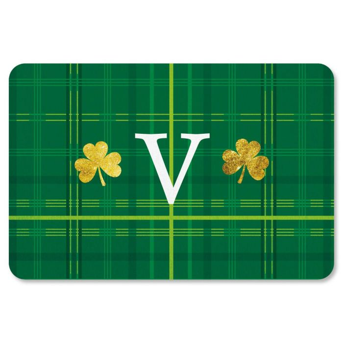 Shamrock Plaid St Patrick's Day Personalized Doormat