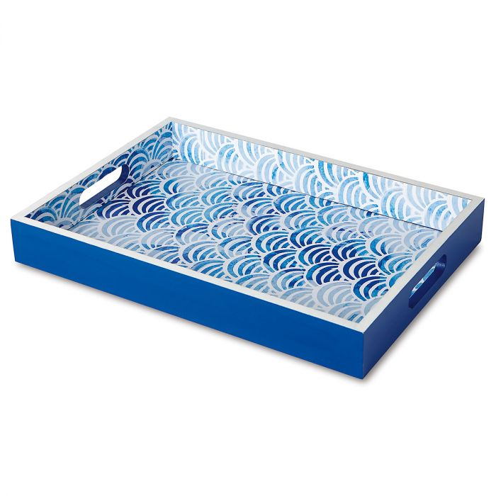 Blue & White Scalloped Tray