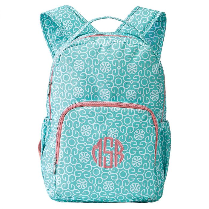 Mint Personalized Damask Backpack