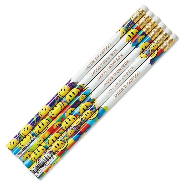 #2 Personalized Hardwood Pencils - Smiley Faces