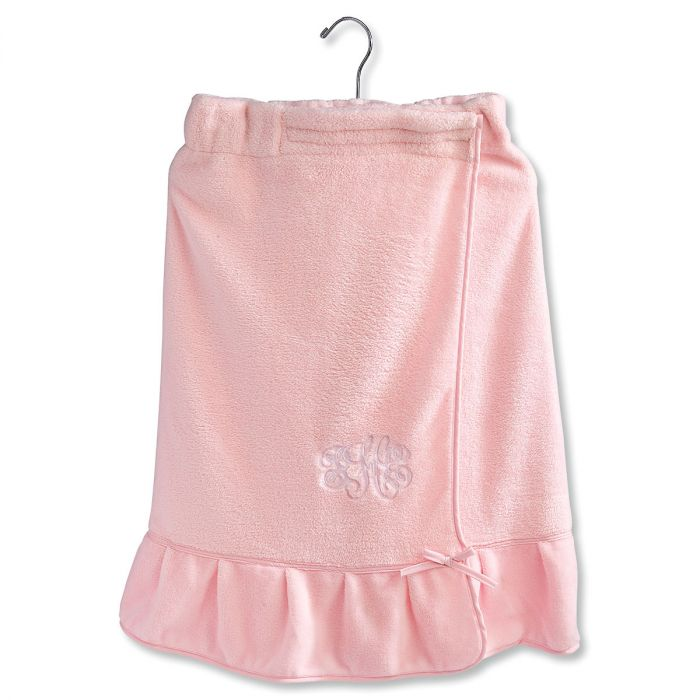 Pink Ruffle Monogrammed Spa Wrap