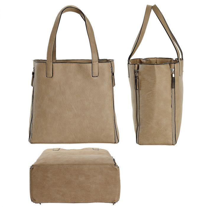 Bone Carry-All Nora Tote Bag with Matching Personalized Crossbody Purse