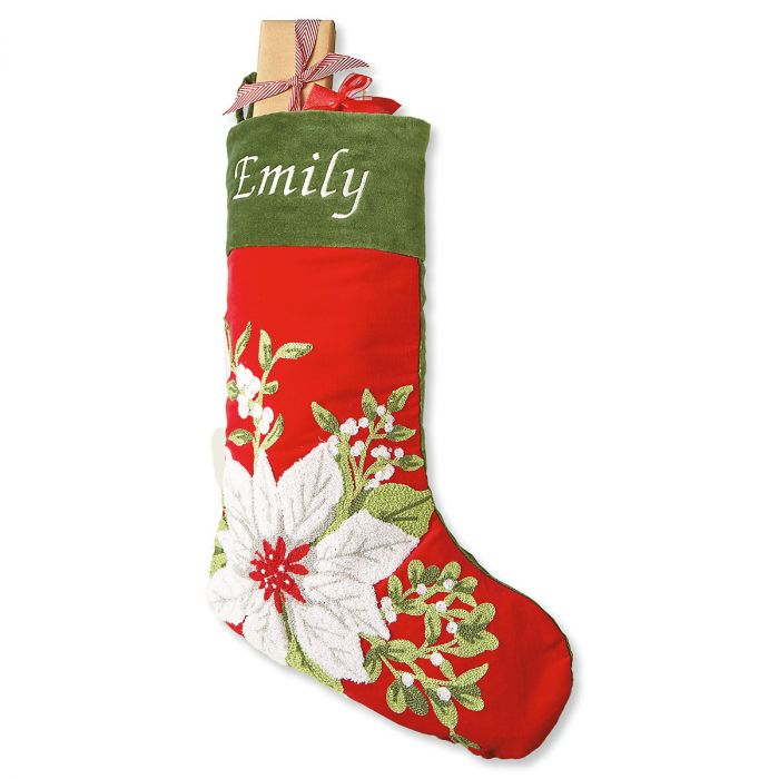 Poinsettia Personalized Christmas Stocking