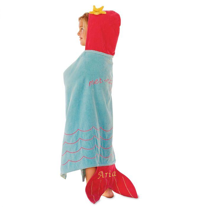 Mermaid Hooded Personalized Towel by Mud Pie®