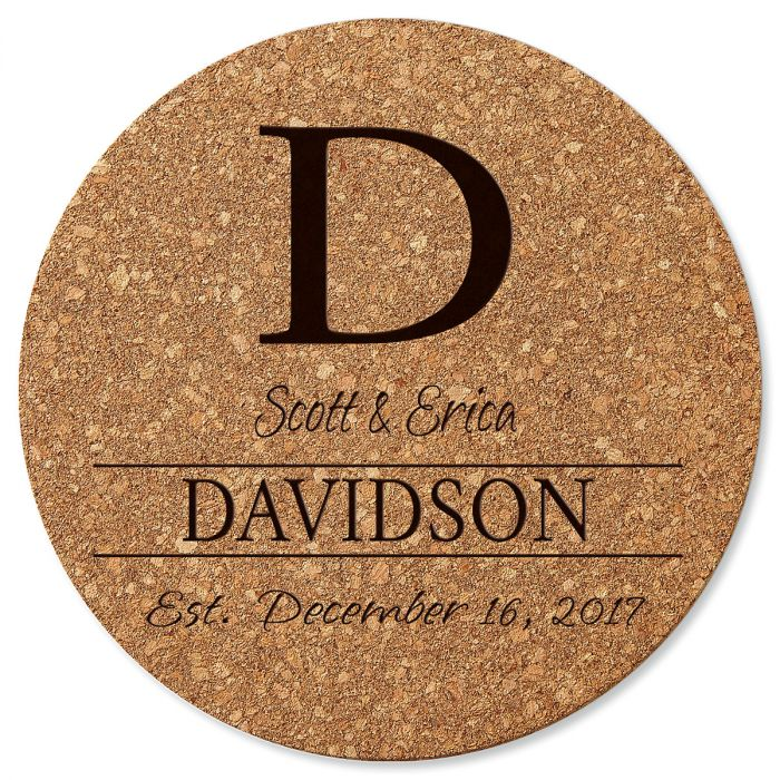 Personalized Initial Round Cork Trivet