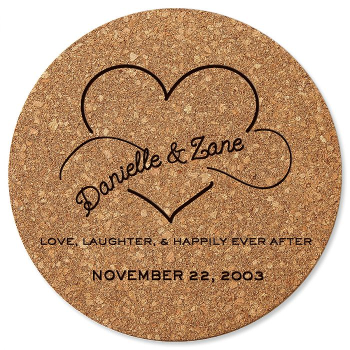 Personalized Happily Ever After Round Cork Trivet by Designer Jillian Yee-Pham