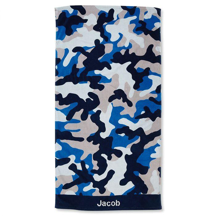 Blue Camo Personalized Towel