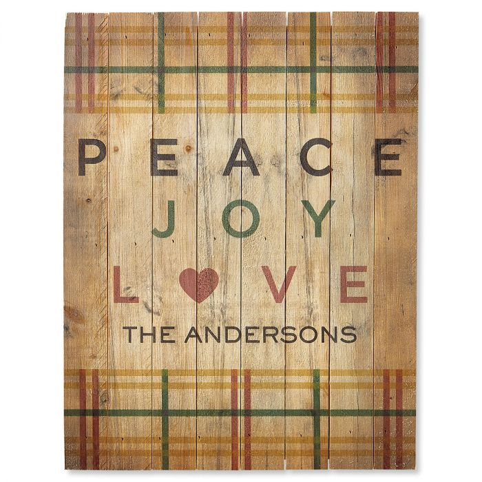 Peace Joy Love Plaid Personalized Plaque
