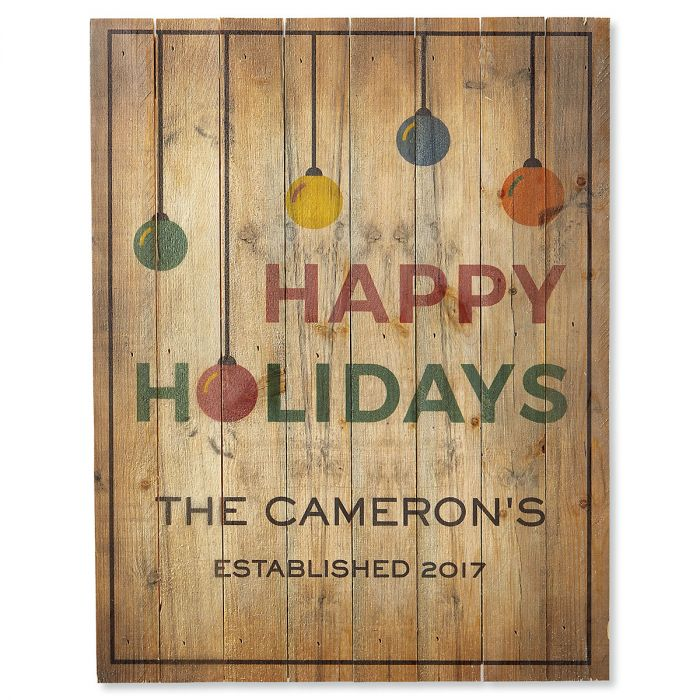 Happy Holidays Ornaments Personalized Plaque