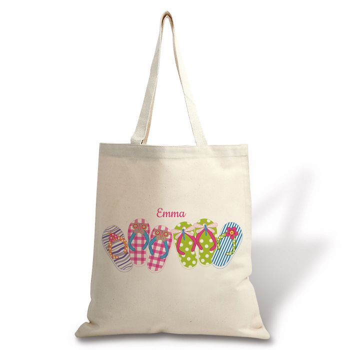 Personalized Flip Flops Canvas Tote