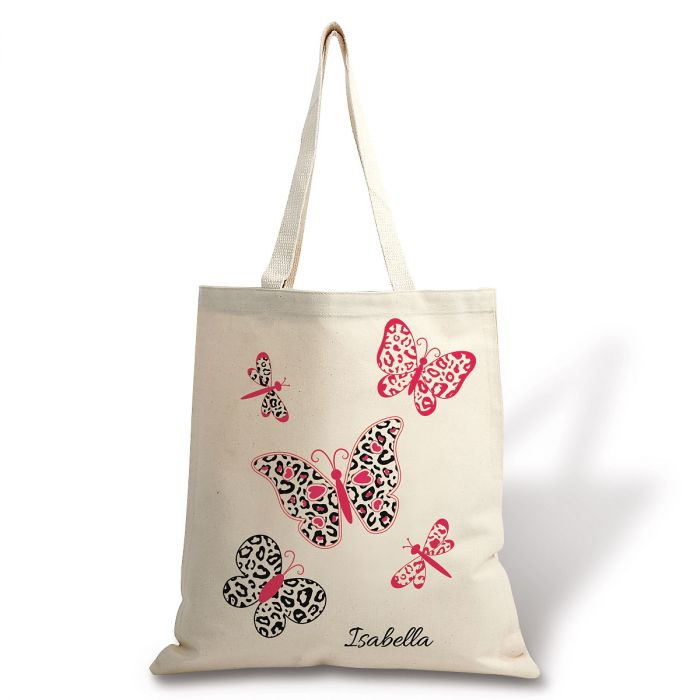Personalized Butterfly Leopard Canvas Tote