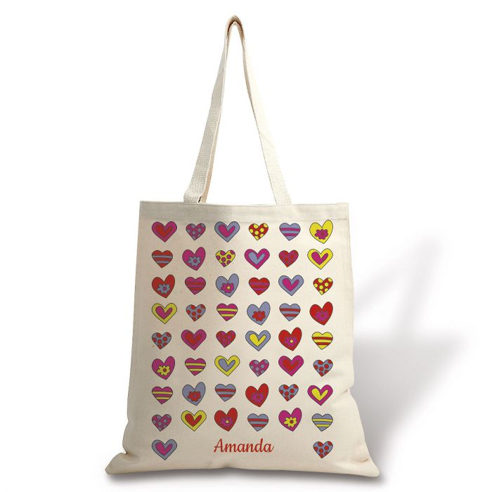 Personalized Crazy Hearts Canvas Tote