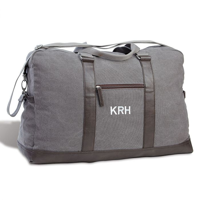Monogrammed Large Canvas Durable Dark Grey Duffel