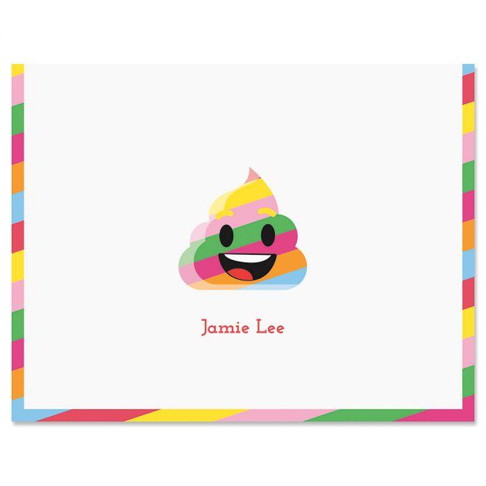 Rainbow Poop Emoji Note Cards