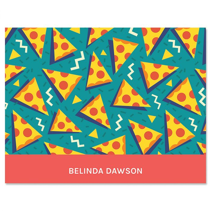 Retro Turquoise Pizza Note Cards