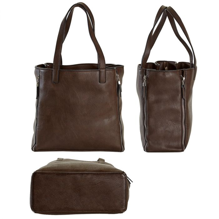 Brown Carry-All Nora Tote Bag with Matching Personalized Crossbody Purse