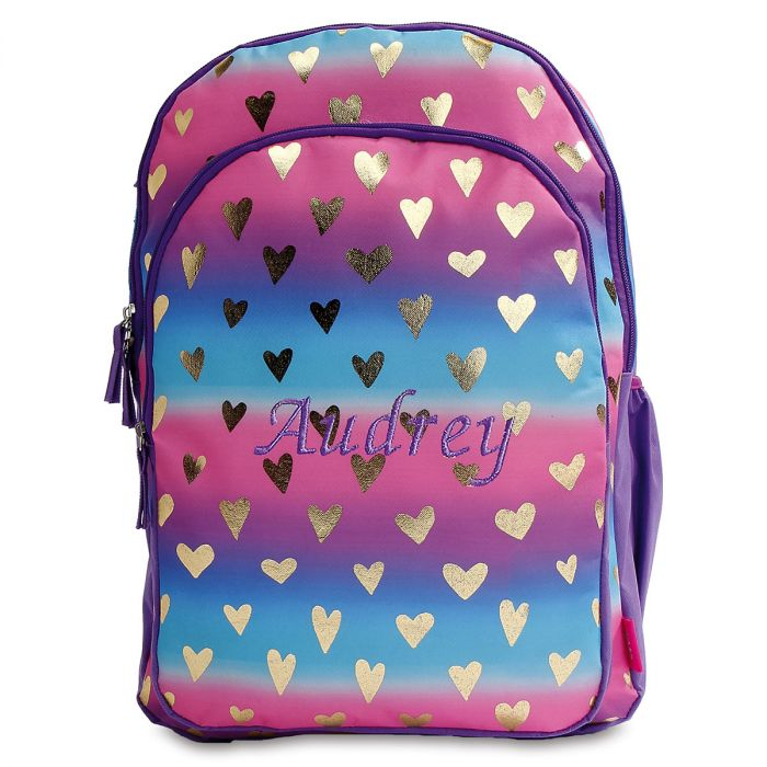 Personalized Gold Hearts Backpack
