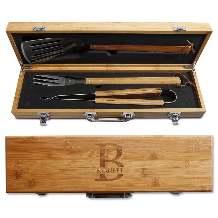 Personalized Initial Bamboo BBQ Set