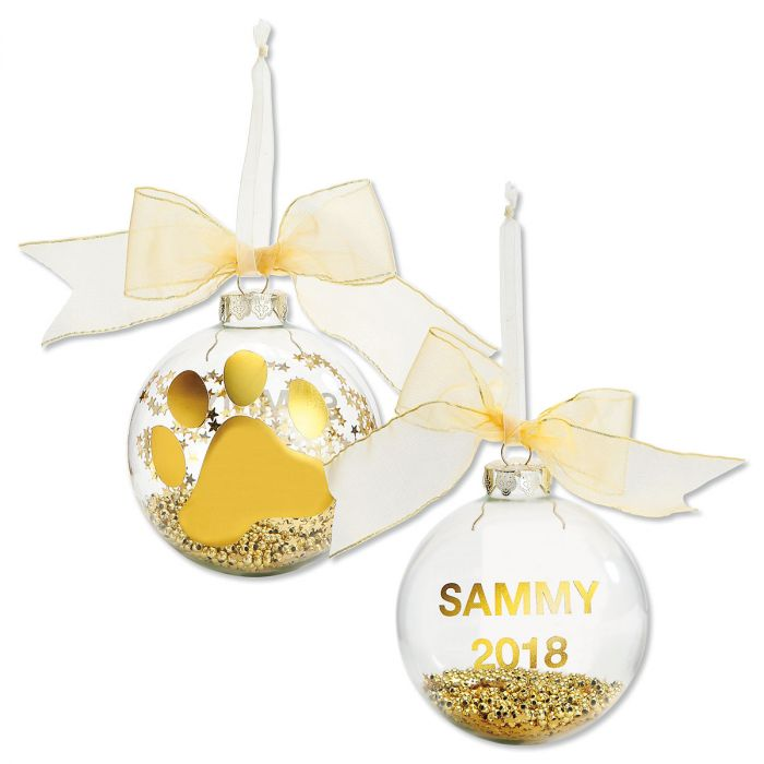Personalized Gold Foil Pawprint Ornament