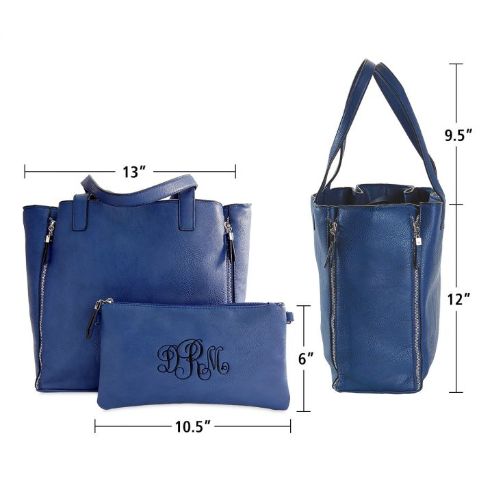 Navy Carry-All Nora Tote Bag with Matching Personalized Crossbody Purse