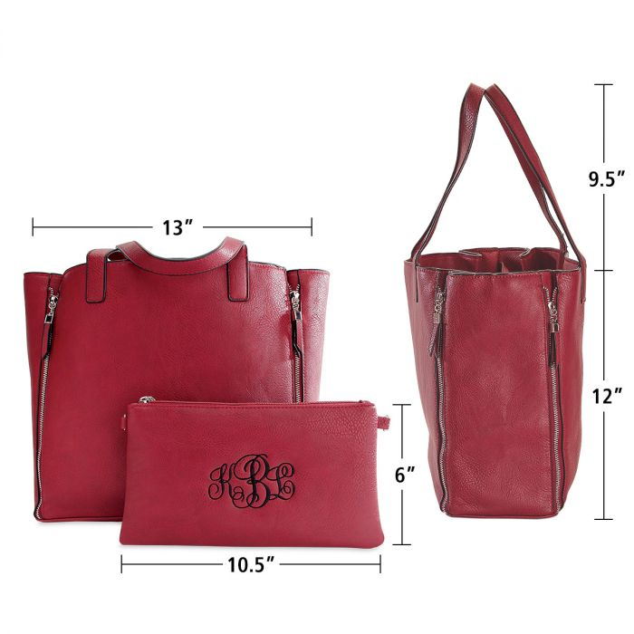 Red Carry-All Nora Tote Bag with Matching Personalized Crossbody Purse
