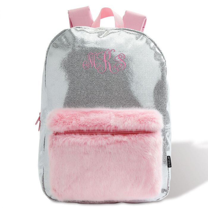 Personalized Silver Shimmer Backpack – Monogram