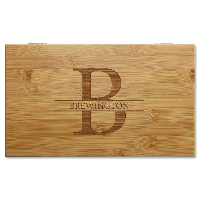 Bamboo Tea Box with Initial and Last Name