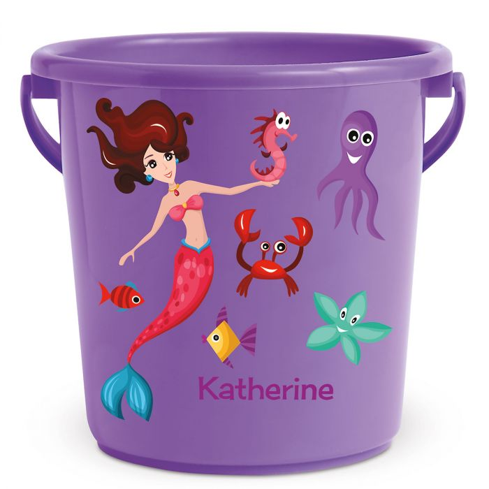 Personalized Kids Beach Bucket - Mermaid