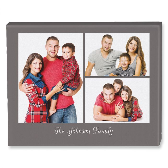 Family Name Grey Collage Photo Canvas