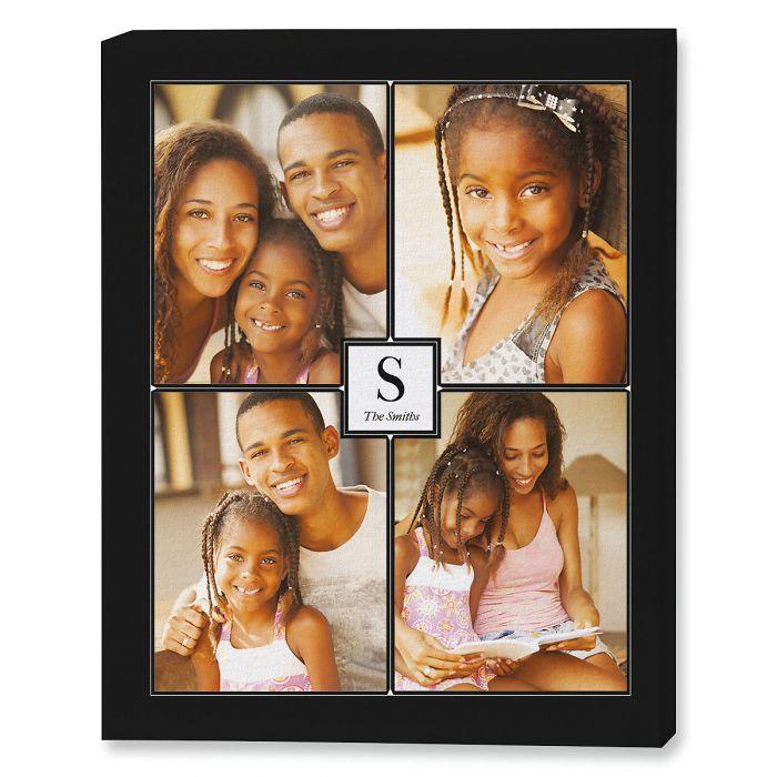 Monogram Black Collage Photo Canvas