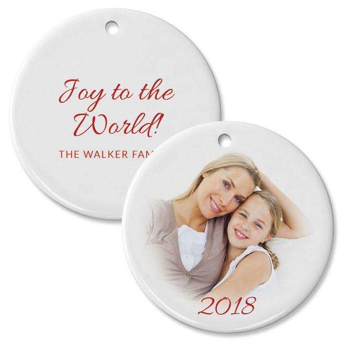 Personalized Circle Joy Photo Ornament