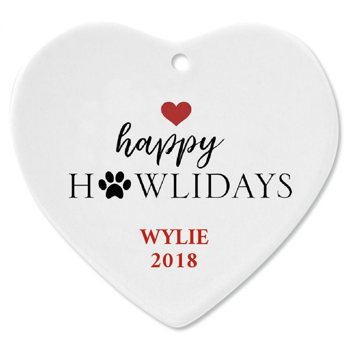 Happy Howlidays Personalized Christmas Ornament