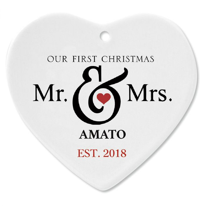 Mr. and Mrs. First Christmas Personalized Ornament