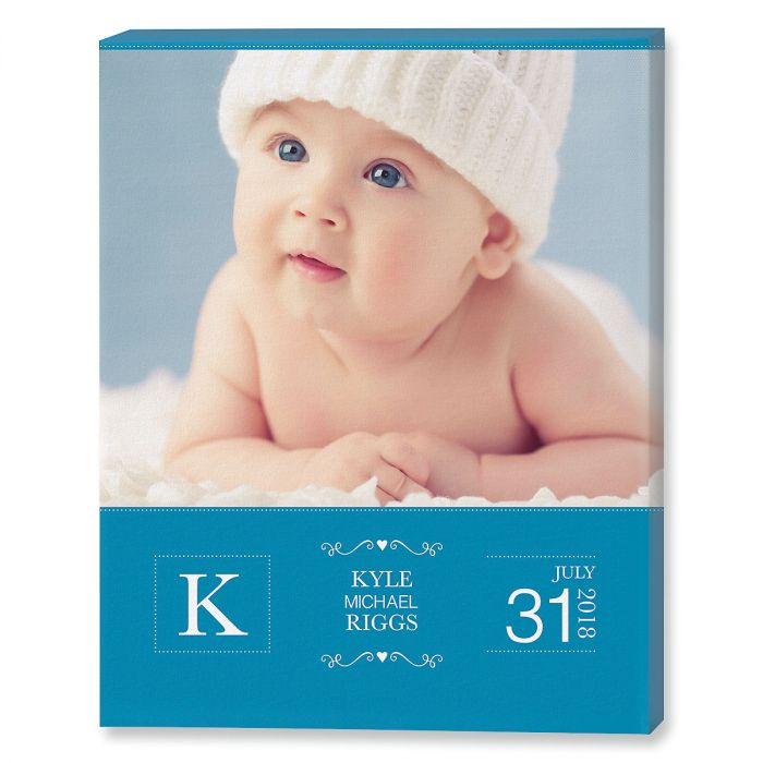 Baby Picture Blue Photo Canvas
