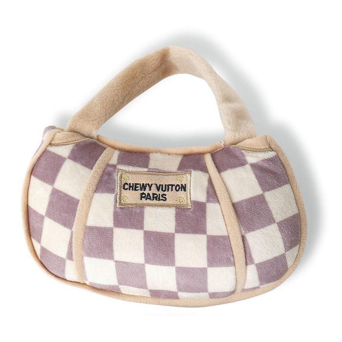 Checker Chewy Vuitton Handbag Plush Dog Toy by Haute Diggity Dog