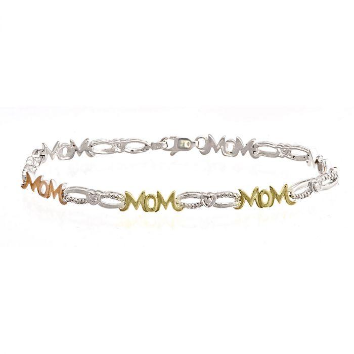 Mom Diamond Accent Open Link Heart Bracelet