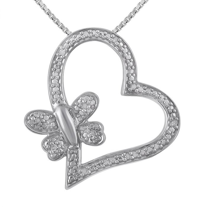 """Diamond Accent Heart & Butterfly Pendant with 18"""" Chain"""