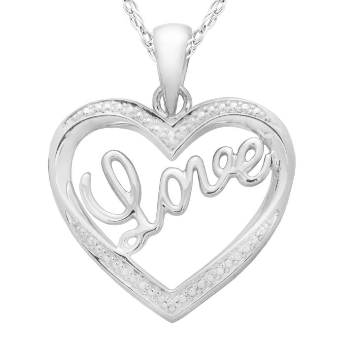 "Diamond Accent Heart/Love Pendant with 18"" Chain"